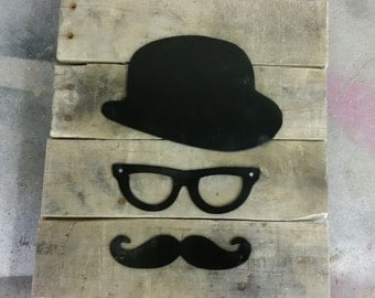 Hat, Glasses and Mustache Pallet Sign
