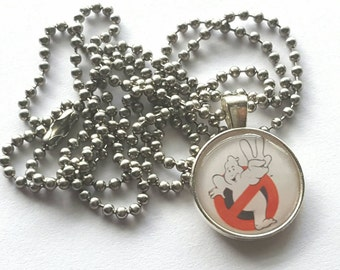 Ghostbusters Silver Tray Necklace with Stainless Steel Ball Chain - movie