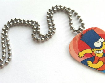Bart Simpson Guitar Pick Necklace with Stainless Steel Ball Chain - dare devil - animation - the Simpsons