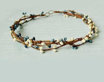 Blue flower crown, Rustic hair crown, Bridal headpiece, Bridesmaid crown, Nautical hairpiece, Flower girl crown, Boho halo, Berry hair crown