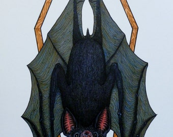Coffin Vampire Bat Print Original Colour Art Print  8x11 A4