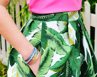 Palm Leaf Woman's Structured Skirt With Pockets