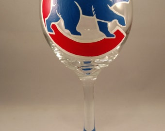 Hand Painted Chicago Cubs Wine Glass