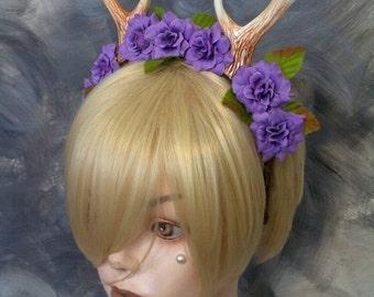 Faun Antlers Headband / Purple Rose Flower Crown / Deer Costume