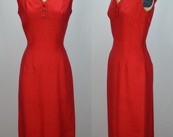 """1950s Early 60s Perfect Red Linen Hourglass Wiggle Dress Waist 26.5"""""""