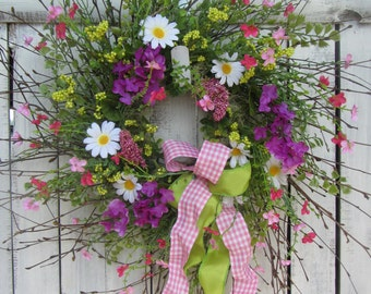 Summer Wreath - Daisy Wreath - Spring Wreath - Summer Front Door Wreath - Twig  Wreath - Rustic Wreath - Country Wreath