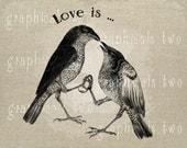 Love birds print Instant graphic digital download image transfer for iron on Fabric burlap pillow Decoupage clip art wedding art No gt311