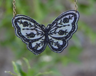 Black butterfly necklace, lace necklace, romantic necklace, gothic lace jewelry, dainty jewelry