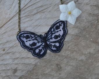 Black butterfly necklace, lace butterfly necklace, black lace necklace, dainty lace jewelry