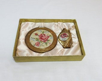 Powder Compact and Lipstick Case With Mirror - 1954