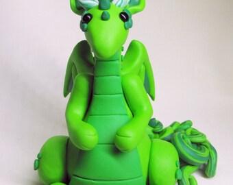 Handmade Miniature Dragon, Handmade  Dragon Figurine in Polymer Clay, Green Dragon Sculpture, Fantasy Sculpture, Handmade Fantasy Creature