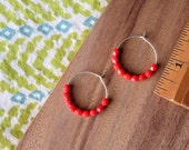 sterling silver bright coral red czech glass hoop earrings