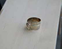 Gold Feather Mens Ring, 14 k Solid Yellow Gold, White Gold, Handmade, Mens Jewelry