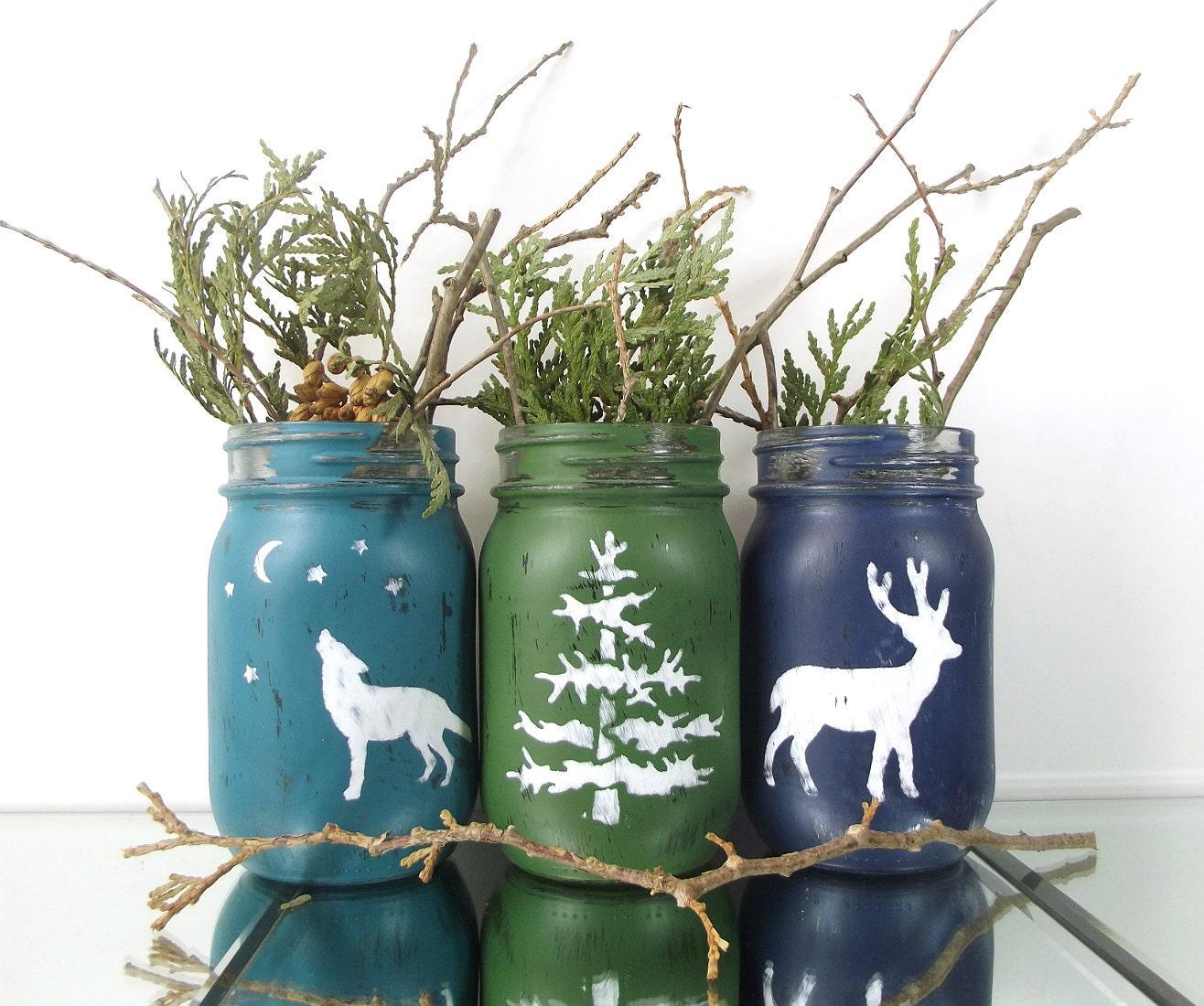 Woodland Decor Decorated Mason Jars Fall Decor Rustic