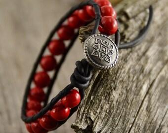 Red beaded bracelet. Bohemian chic leather bracelet