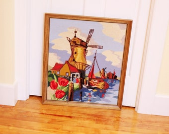 Dutch Treat...  Large Vintage Framed Needlepoint Picture - Dutch Scene with Windmill, Tulips, Cottage - Bright Colors, Wood Frame
