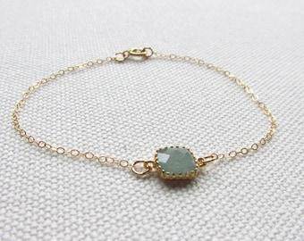 Aventurine Bracelet Minimal Bracelet Jade Green Glass Square Dainty Modern Everyday Jewelry