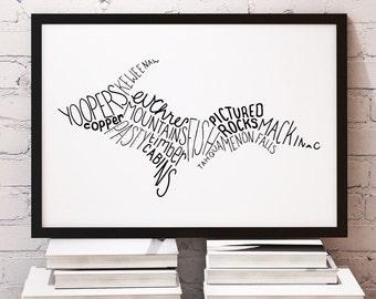 State of Michigan Upper Peninsula Typography Print; Christmas; Wall Decor; Wall Art; Wedding Anniversary Engagement Graduation Gift Decor