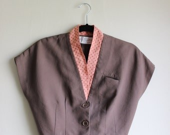 Preppy 1950s Cropped Bolero Jacket with Cap Sleeves and Polka Dot Trim