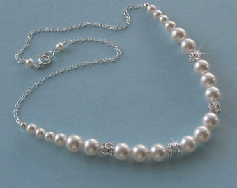 Bridesmaid Jewelry, Pearl Bridesmaid Necklace, Pearl Necklace Bridesmaid Gift, Pearl and Rhinestone Necklace, Wedding Party, Bridal Party