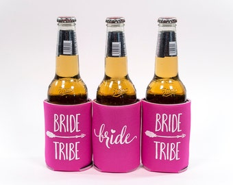 Hot Pink Bride Tribe Can Cooler   Bachelorette Party  Can Cooler  Bridesmaid gift  Bachelorette  Bridesmaid Proposal  Bridal Party Gift 