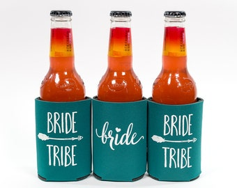Bride Tribe Can Cooler | Aqua Bride Tribe Can Cooler| Box 105| Bachelorette Party Favor | Bride Tribe Party Favor| You choose quantity!