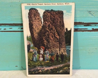 Native American Indians Vintage Postcard, 1930s, Devils Teapot, Spokane Washington, Chief Headdress