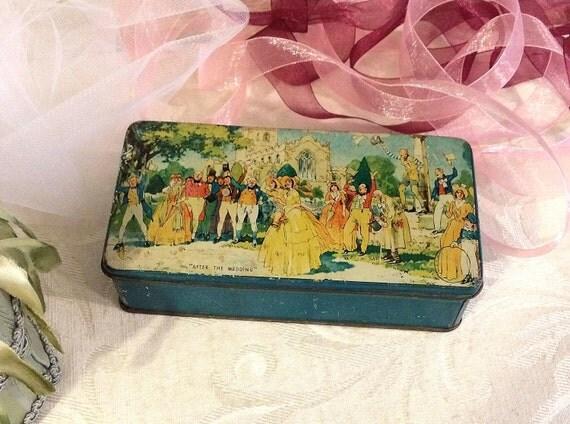 Shabby Wedding Theme Vintage Tin Box 1800s Fashions Small