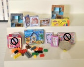 Custom RESERVED Order - 9 Dollhouse Miniature Toy Game Boxes, Dollhouse Toys