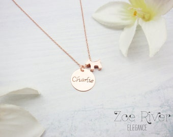 Choose rose gold, silver or gold dog necklace.  Inspirational necklace. Personalized name dog necklace