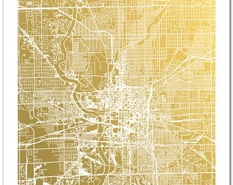 Indianapolis Map, Gold Foil Map of Indianapolis, Indiana, Indianapolis City Map, Map Art, Indianapolis Print, Map Art, Gold Foil Print