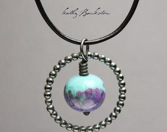 Purple and Blue Lampwork Pendant, Lampwork Pendants, Glass Pendants, Lampwork Jewelry, Pendants, Kathy Bankston, Glass and Silver Pendants