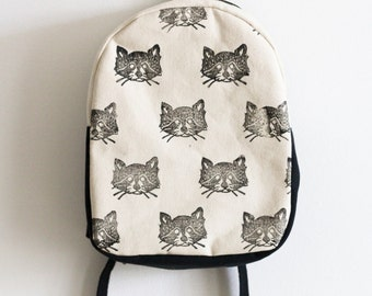 Sale! Toddler Backpack Block Printed, Raccoon Print, Monochromatic, Gifts for toddlers, Gifts for Kids, Children's Backpack