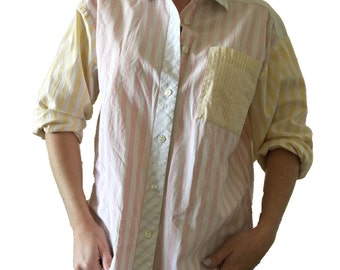 Striped Oxford Button Up/ Pastel Pink, Blue, and Yellow Striped Oxford Top/ Stripes/ Colorful Striped Top/ Vintage Oxford/ Button Up