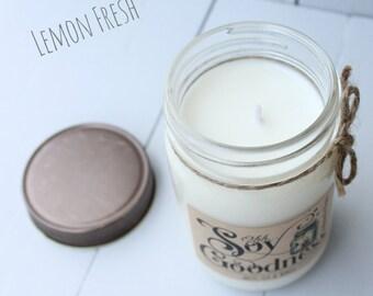 LEMON FRESH 12 oz   Hand-Poured Soy Candle