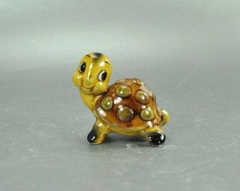 Miniature Ceramic Brown Green Gold Turtle Tortoise Figurine