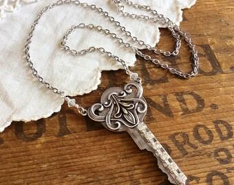 Rhinestone Key Necklace - assemblage neckace key necklace rhinestone necklace upcycled recycled repurposed