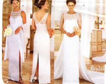 Wedding Gown Sewing Pattern Butterick 5873 Misses' Dress with Detachable Train and Scarf Sewing Pattern
