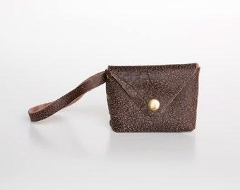Envelope Wallet, Leather Coin Purse, Change Purse, Leather Wallet, Small Leather Coin Purse, Leather Wristlet Wallet, Soft Leather, Umber