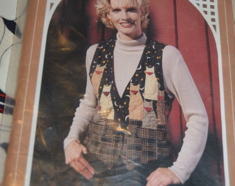 Back Porch Bench Country Cats Vest Sewing Pattern  UNCUT - Sizes 6 8 -10 1 2 - 14 16 -18  20 - 22