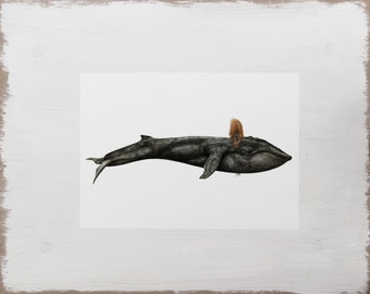 Whale Print -- Nautical Animal Print // Watercolour Illustration // Limited Edition Art