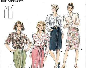 Mock Wrap Skirts Burda 4874 Sewing Pattern Front Drapes Founces Overlays Plus Sizes Included Size 8 - 20 Uncut