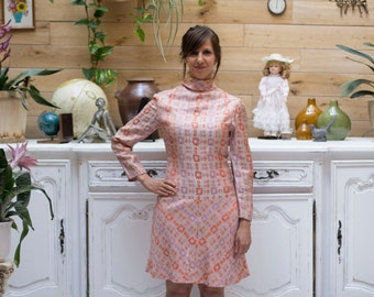 Vintage 1960 Pastel Mini Dress with Turtleneck Size 38