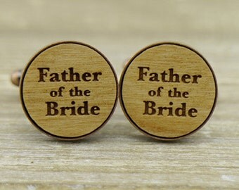 Father of the Bride Copper Wood Cufflinks - dad of the bride - Unique wedding favor - wedding gift for dad - Rustic wedding - dad cuff Links
