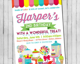 Candy Birthday Invitation | Sweet Shoppe Invitation | Lollipop Birthday | Candy Shoppe Invitation | Girl Birthday Invitation