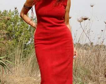 Sleeveless fleece brick red dress,  Fleece warm tube winter dress, Womens fitted winter red fleece dress, Casual warm dress, Womens dress