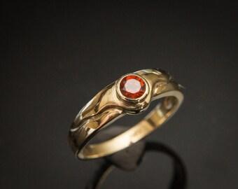 Orange Garnet Ring Spessartite Garnet Band Mandarin Orange Garnet Gold Ring Fanta Orange Spessartite Promise Ring