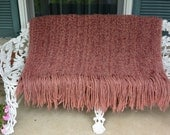 1980's Kennebunk Throw - New Hampshire, Hand Made, Pink Fringed - Vintage - Fabulous!