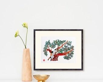 Japanese Cat Art, Oriental Art Prints, Japanese Cat Artwork, Tricolor Cat