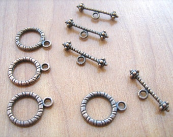 Toggle clasps antique copper tone color lead free 4 sets
